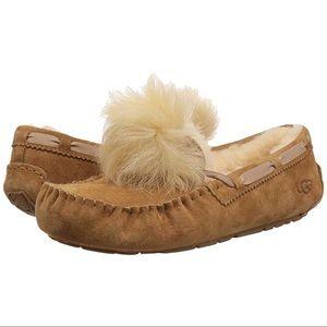 New UGG Dakota Pom Pom Slippers, Chestnut Loafers